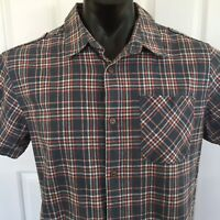 Piping Hot Mens Button Up Blue Red Check Short Sleeve Shirt Size L