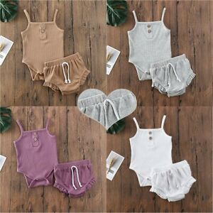 Baby Girls Summer Clothes Outfits Newborn Sleeveless Tops Vest Shorts Set Casual