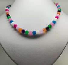 Multicolour Jade bead necklace, Solid Sterling Silver, New, UK Seller. UK made.