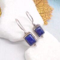 Lapislazuli blau eckig Design Ohrringe Ohrhänger Haken 925 Sterling Silber neu