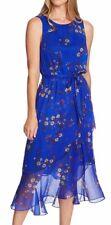 Vince Camuto Womens Dress Royal Blue Size 4 Sheath Floral Print $139- 492