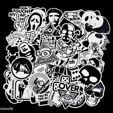 50 pcs Black and White Waterproof Sticker pack For Luggage, Laptop, Skateboard