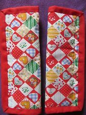 Lightly padded, Hearts & Flowers, Car Seat Belt Cover Pads. X2