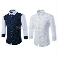 Mens Luxury Casual Slim Fit Stylish Formal Dress Shirts Skull Long Sleeve Tops