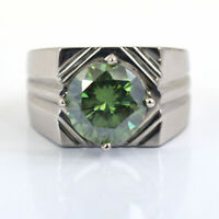 5.5Ct Certified Green Diamond Men's Ring in Heavy Setting, Excellent Luster