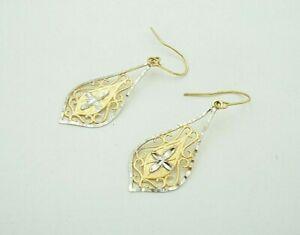 10k Yellow And White Gold Two Tone Diamond Cut Dangle Hook Earrings