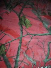 Fleece Handmade Tie Blanket Oversized  Baby Throw Approx 50X60 Realtree Coral