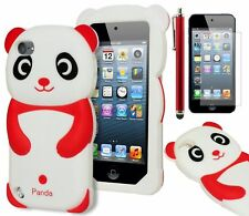 For iPod Touch 5 3D Red & White Panda Silicone Case+Screen Protector+Stylus