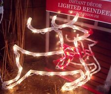 CHRISTMAS OUTDOOR LIGHTED FLYING REINDEER FIGURE SIGN WINDOW YARD LIGHT DECOR