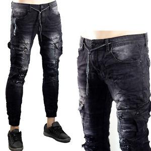 Pantaloni Cargo Uomo Elasticizzati Jeans Slim Fit Tasconi Skinny Aderenti Nero