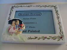 """Beatrix Potter Christmas Rabbits In The Snow Picture Frame 5""""x 7"""" Hand Painted"""
