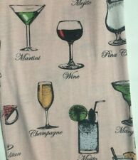 M Pink Alcoholic Beverage Pajama Bottoms/Pants Wine Martini Cosmopolitan Mojito