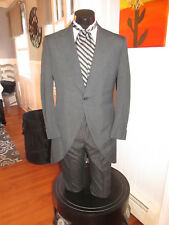 MENS VINTAGE VICTORIAN CHARCOAL GREY CUTAWAY TUXEDO ASCOT INCLUDED SIZE 42L