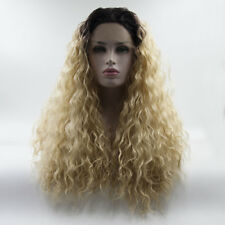 Afro Kinky Black Mixed Blonde 24 Inches Long Curly Heat Resistant Lace Front Wig