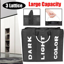 3 Lattice Laundry Basket Storage Bucket Home Toy Sundries Organizer Black Hamper