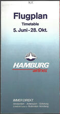 Hamburg Airlines system timetable 6/5/89 [8081]
