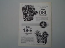 advertising Pubblicità 1961 BOLEX PAILLARD 18-5/CINEPRESA D8L