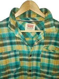Levi's Large Mens White Tab Textured Plaid Check Slim Fit LS Shirt Green Yellow