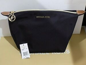 Authentic MICHAEL KORS MK Travel Cosmetic bag pouch Black Nylon Adorable NWT.,