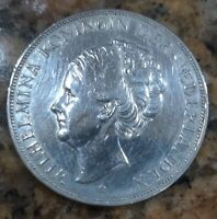 1938 Netherlands 2 1/2 Gulden Crown Size Silver Coin (XF Cleaned)