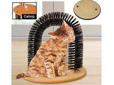 CAT KITTEN MASSAGING PET ARCH SELF GROOMING GROOMER BRISTLES SCRATCHING PLAY NIP