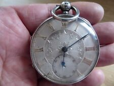 QUALITY ANTIQUE SILVER FUSEE POCKET WATCH SILVER DIAL APPLIED GOLD NUMERALS