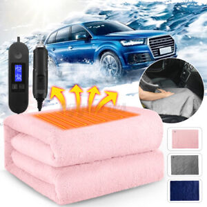 12V Electric Heated Fleece Blanket LCD Display Warm Winter Cover Heater 110x70cm