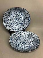 "Set of 3 Ceramic Unusual Shape Blue Gray Plates/Bowls made in Japan 8.5"" x 8"""