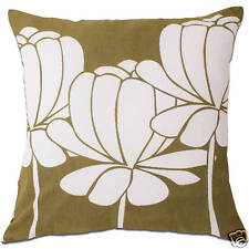 hula lotus flower olive green and white cushion covers