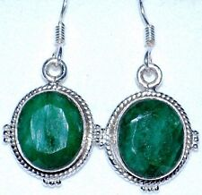 Emerald 925 Sterling SILVER Earring Green Gemstone ANTIQUE style Dangle Earrings