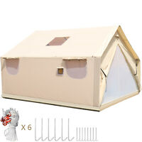3x3.6m Canvas Wall Tent Canvas Tent 8 Persons for Camping Outdoor Activity