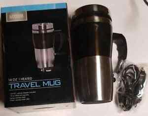 12v Electric Heated Travel Mug Stainless Steel Coffee Tea Cup Black 14 oz