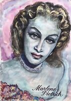 Acquerello Ritratto Marlene Dietrich Arte Deco Joachim Cordsen Berlino