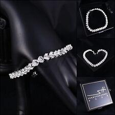 Elegante Bracciale, BRACELET * Cubic Zirconia * Oro bianco PL, Swarovski Elements, + ASTUCCIO