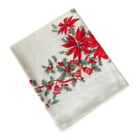Wilendur Christmas Poinsettias Tablecloth Vintage Print 59 x 72 As Is