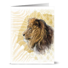 24 Note Cards - Lion on Gold Print - Gray Envs