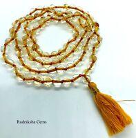 CITRINE JAPA MALA 108 ROSARY BEADS HINDU YOGA MEDITATION ENHANCE BODY AWAKENING