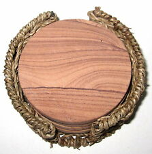 Set of 4 Natural Thirstystone Picture Sandstone Round Coasters w Seagrass Holder