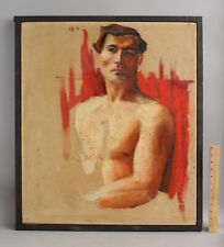 Vintage American Howard Ormsby Thomas  Modernist Nude Man Portrait Oil Painting