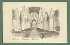 c1930's P/C CREDITON CHURCH INTERIOR - DEVON.  REPRODUCTION OF A PENCIL SKETCH