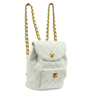 CHANEL DUMA Quilted Chain Backpack Bag Purse White Leather 3272517 AK25508g