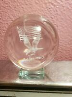 Vintage Round Glass Paperweight Eagle w/ America Flag God Bless America