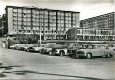 uralte AK, Karl-Marx-Stadt, Blick zum Interhotel Moskau/Skoda, Trabant, Wartburg