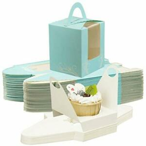 Single Paper Cupcake Boxes Individual Portable Cupcake Carrier With Window Ho...