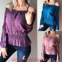 Women's Boho Peasant Off Shoulder Long Sleeve Smocked Lace Up Knit Top Blouse