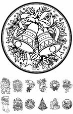 """Adult Coloring Cards Book (24 cards 4.5""""x6.5"""") Christmas Gift Santa FLONZ 004"""