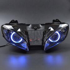 Blue Assembly Headlight Projector Angel Eyes Hi/Lo Beam For Yamaha YZF R6 06-07