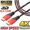 Gold Plated Braided High Speed HDMI Cable V1.4 4K AV HD 3D HDTV 0.5-15M 1080P A