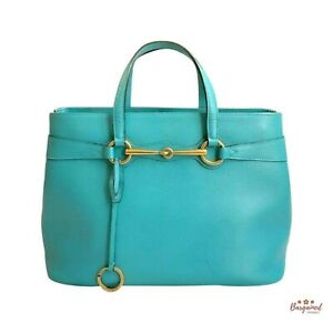 Authentic GUCCI Turquoise Calfskin Leather Bright Bit Top Handle Tote Bag 319795