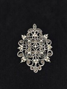 925 Sterling Silver, Marcasite and Seed Pearls Antique Style Pendant